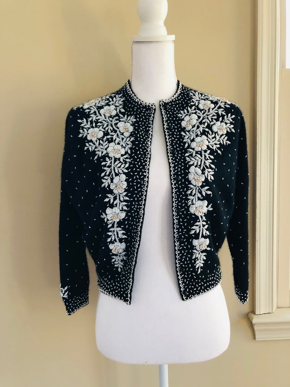 Exceptional 1950s Beaded Cashmere Sweater