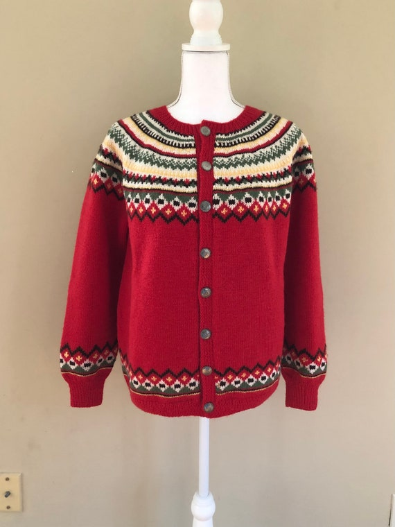 Vintage Hand Knit Wool Sweater Norway Large