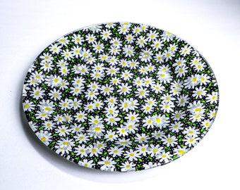 "Decorative Decoupage Serving Plate - Daisies - 10.5"""