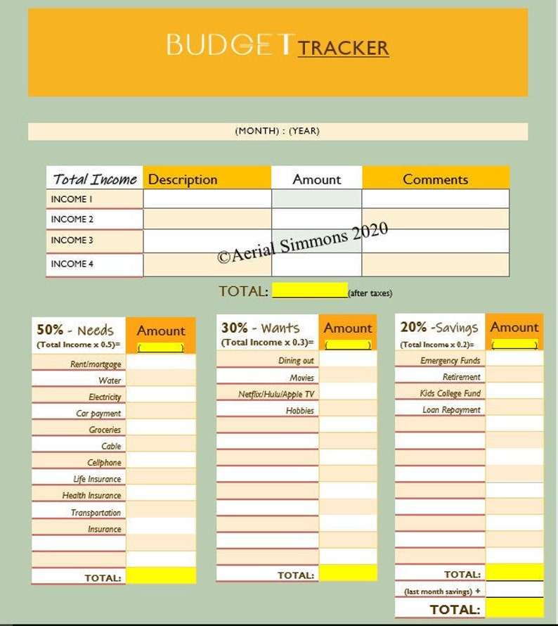 Monthly BUDGET Planner insert  The BUDGET Tracker image 1