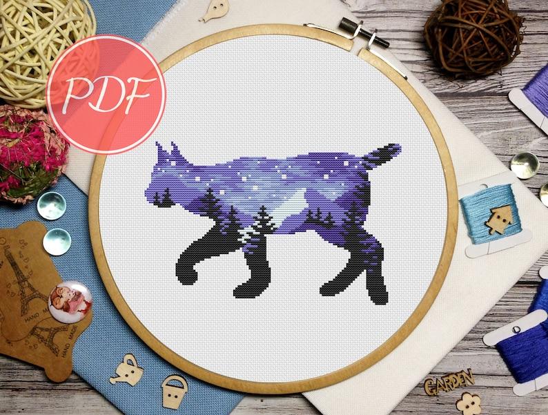 Deer Starry sky cross stitch Landscape cross stitch Animal silhouette cross stitch pattern lynx and bear cross stitch
