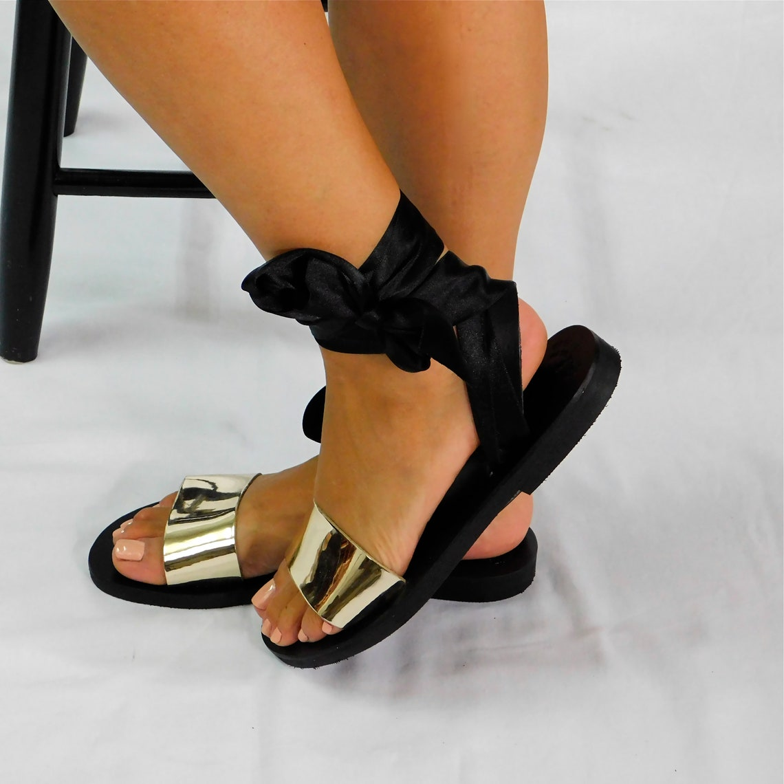 Greek leather sandals, black and gold sandals, ribbon sandals, ankle strap sandals, metallic leather sandals, leather flats, strappy sandals