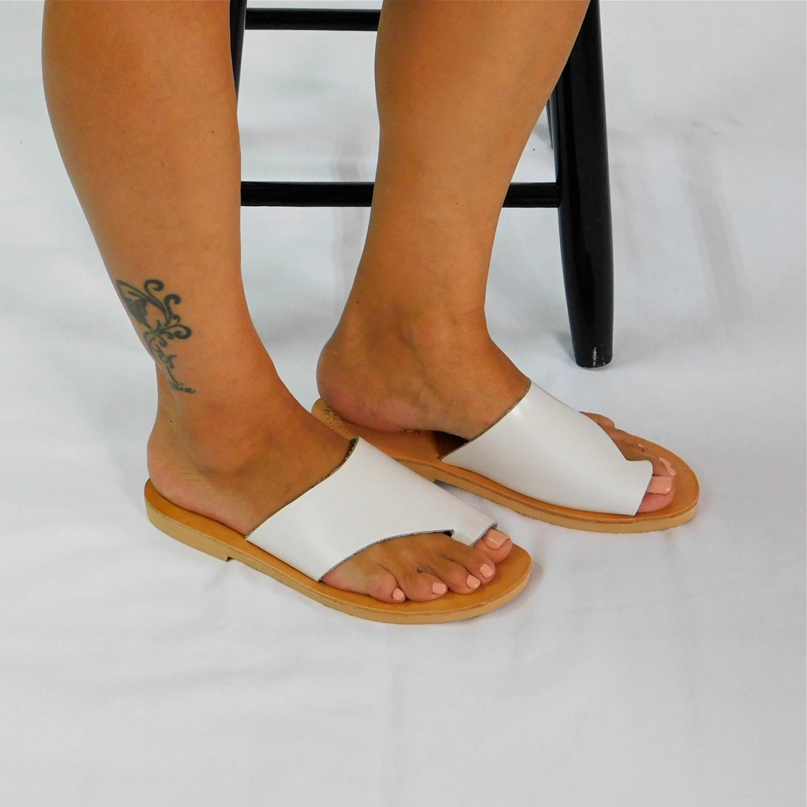 White leather sandals, Greek sandals, Leather sandals, Leather flip flops, Leather flats, Summer sandals, Beach sandals, Sandals for women