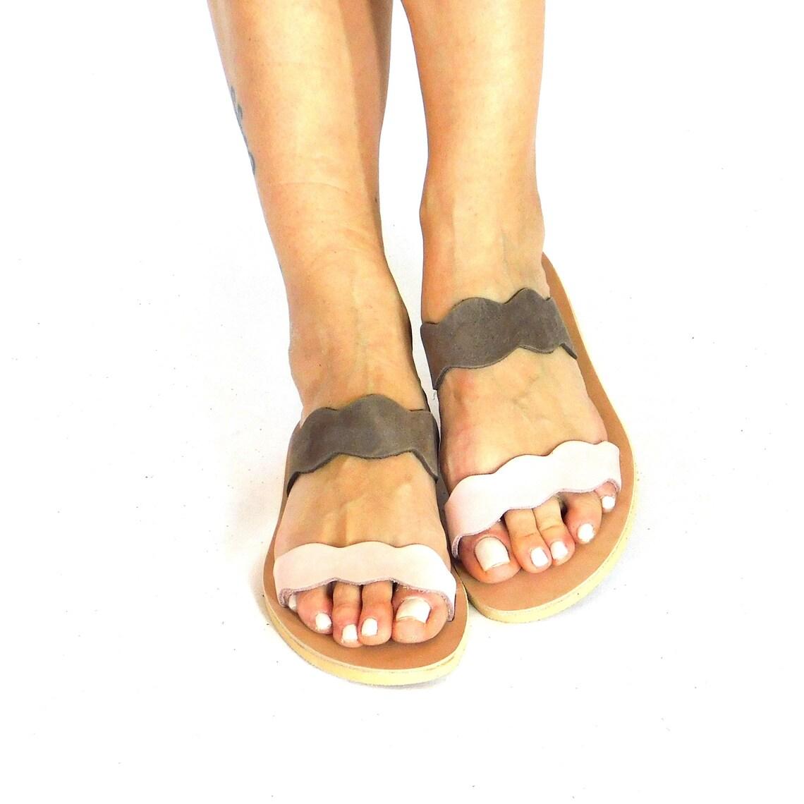 Slides women pink, pink brown sandals, leather slides, greek sandals, summer flats, beach sandals, beach slides, summer slides