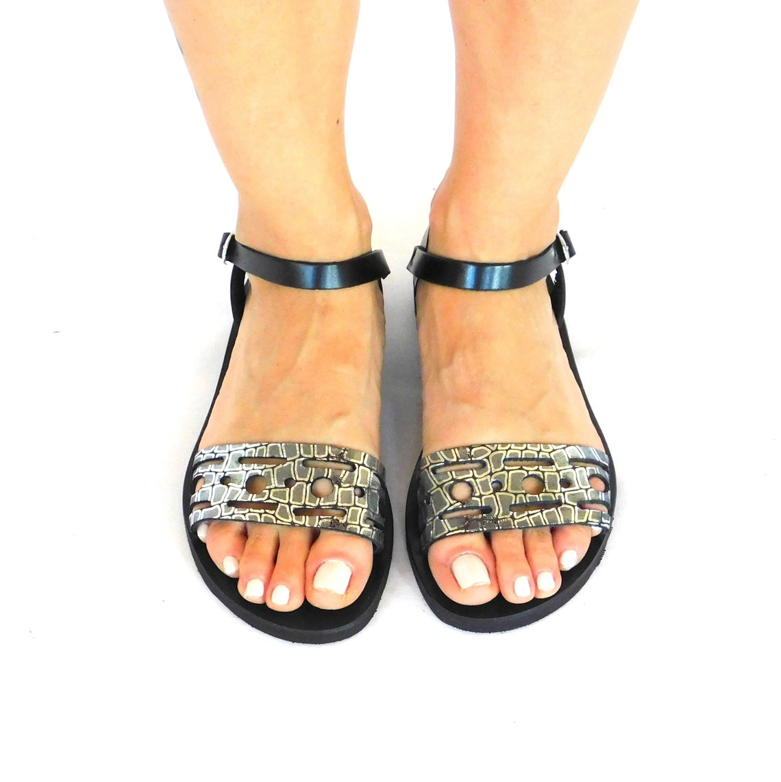 Strappy sandals, leather sandals, ankle strap sandals, metallic leather sandals, summer flat shoes, women sandals, handmade sandals