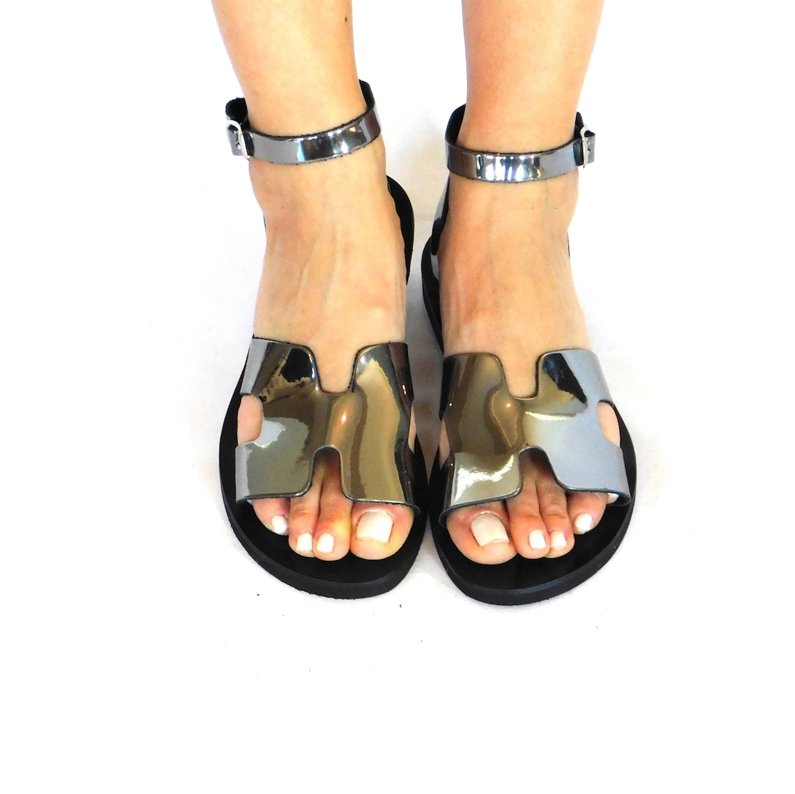 Ankle strap sandals, women sandals, metallic leather sandals, mirror leather shoes, summer sandals, beach sandals, greek sandals