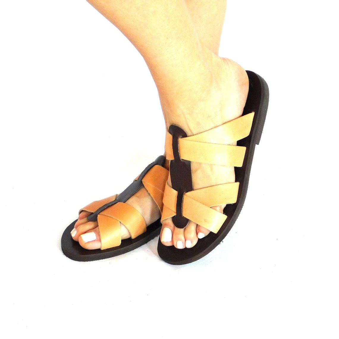Leather sandals, ancient sandals, leather slides women, brown and natural color sandals, greek slides, handmade sandals, beach flat sandals