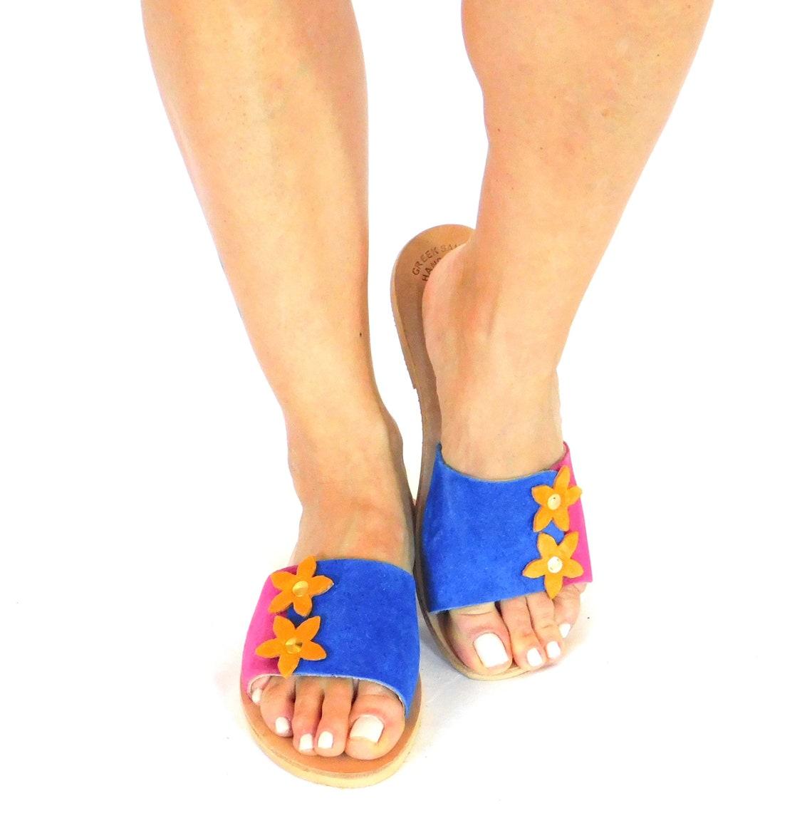 Women slides, multicolor sandals, flat sandals, flower slides, summer slides, beach flat sandals, handmade sandals, leather sandals