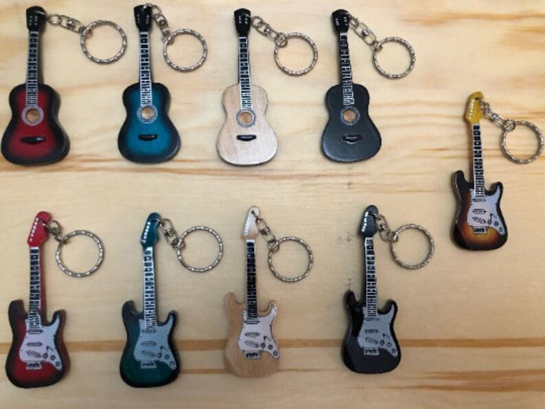 Acoustic Green Mini guitar key ring 10cm designs wooden handmade music key chain keyring keychain 10 colours