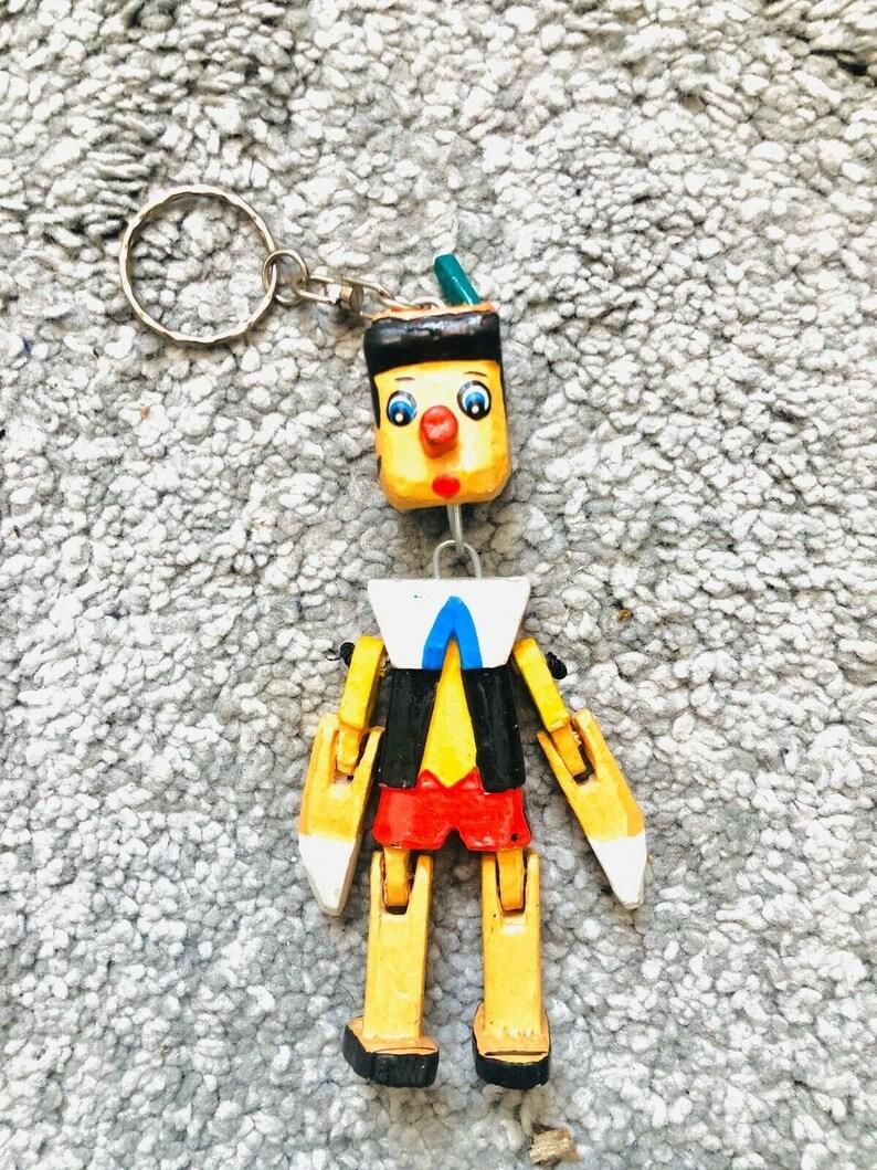 Pinocchio Keychain Wooden Handmade Key Ring Retro