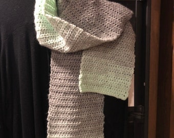 Mint and grey variegated crocheted scarf, handmade