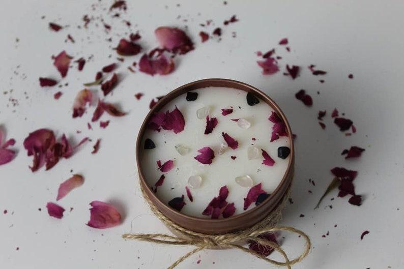 Ritual gem stones candle/ Meditation candle/chakra | Etsy