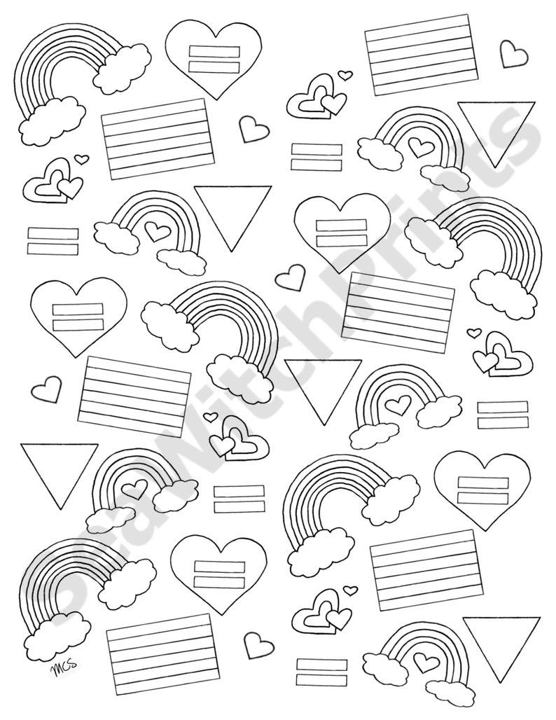LGBTQ Pride Printable Coloring Pages Set of 3 Digital | Etsy
