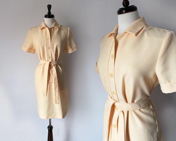 Nurse Jenny Shirt Dress in Custard • Vintage 1970s