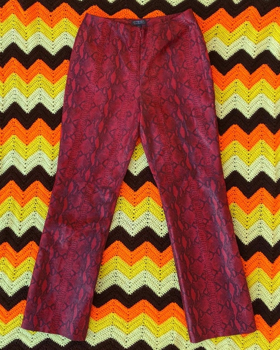 Red Leather Snake-print Pants