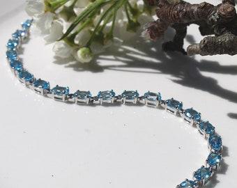 Oval Cut Swiss Blue Topaz Gemstone Bracelet, 6 x 4 mm Sterling Silver Birthstone Tennis Bracelet with Box Clasp