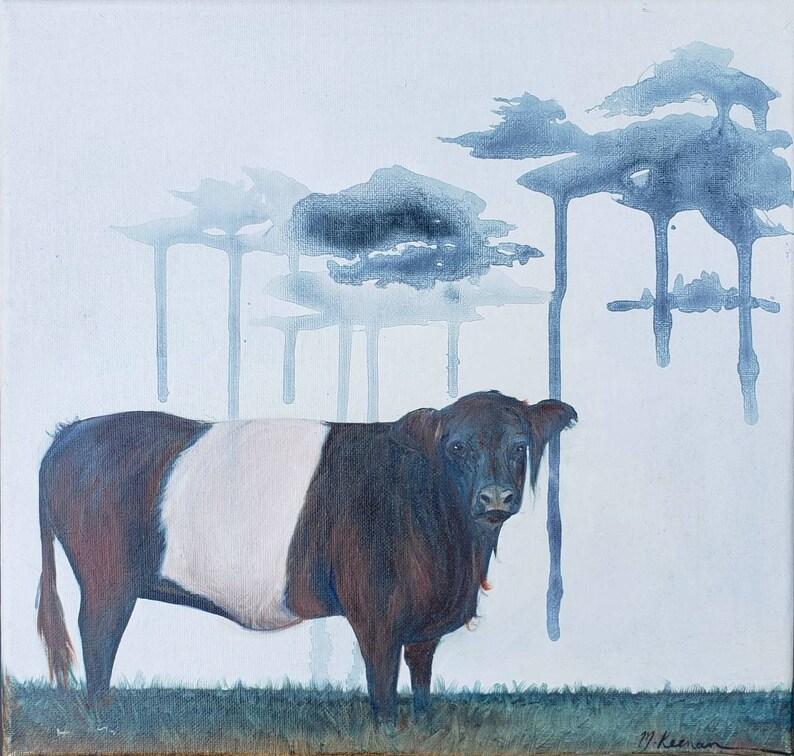 Framed canvas original oil painting 12 x 12 /'Beltie/'