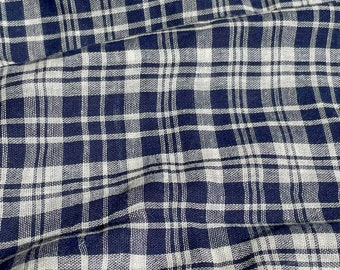 Navy Plaid Cotton Double Gauze - Double Cloth Windowpane Deadstock Fabric By the Yard