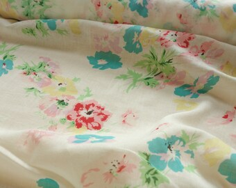 Painted Florals Cotton Voile Gauze - Deadstock Fabric By the Yard