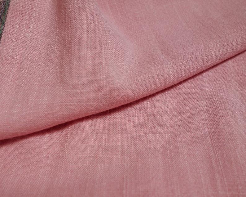 Bubblegum Pink Viscose Linen Noil / Slub  Fabric By the Yard image 0