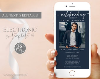 Celebration of Life Electronic Invitation Photo Template Editable Digital Download, Funeral Announcement Text Card, Obituary Template, Corjl