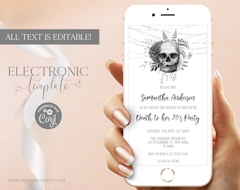 Death to my 20s Invitation Template for Phone Editable Digital Download, RIP Twenties Birthday Party Evite, Floral Skull Electronic Invite