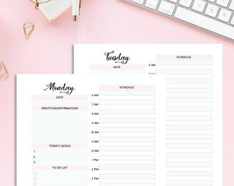 Daily Planner Printable, Daily Digital Planner, Weekly Schedule, Hourly Planner, Daily Planner Hourly, To Do List, PDF Digital Planner