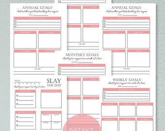 Undated Printable Planner, Goal Planner, Meal Planner, Productivity Planner, Undated Planner, Daily Schedule, Printable To Do List