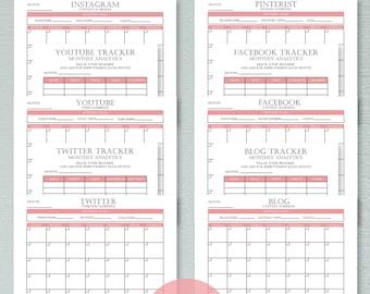 Social Media Planner, Printable Planner, Social Media Tracker, Productivity Planner, Content Schedule, Content Calendar, Digital Planner