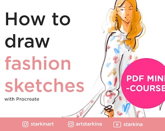 How to draw Fashion Sketches from photo, Step-by-step a PDF mini-course, Drawing tutorial, Fashion illustration drawing guide