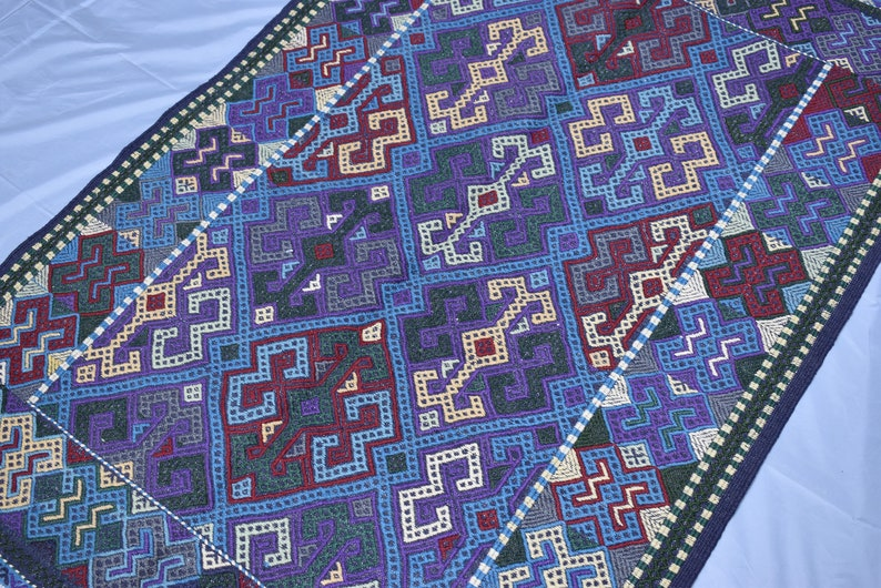 5x3ft Turkmen Olami Tribal Kilim Rug,Trend Merino Embroidery Wool Hand-knotted Afghan Kilim,Entryway Kilim,Flat woven Purple Gray Kilim K457