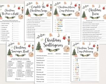8 Virtual Christmas Games Bundle, Christmas Games Bundle, Christmas Games for Family, Social Distance Christmas, Christmas Games for Group