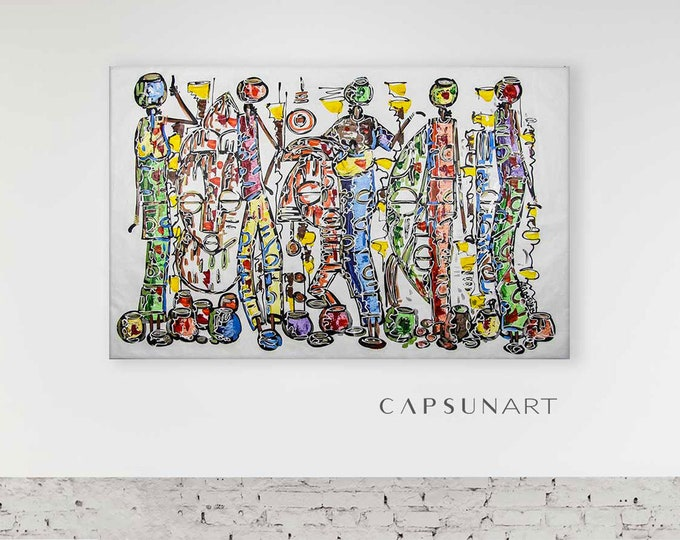 Featured listing image: 5 women carrying water jugs with masks on a white background painting, horizontal - 106x168cm