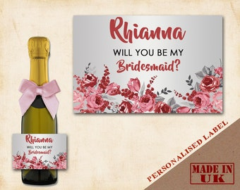 L27 Personalised Mini Individual Prosecco Bottle Hen Party Bridal Custom Label