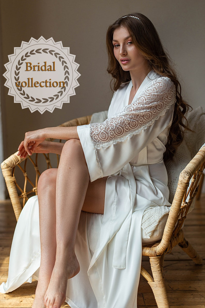 Wedding long lace robe Bridal lingerie Wedding lingerie Bridal kimono robe Customized robe Silk wedding robe Bridal dressing gown