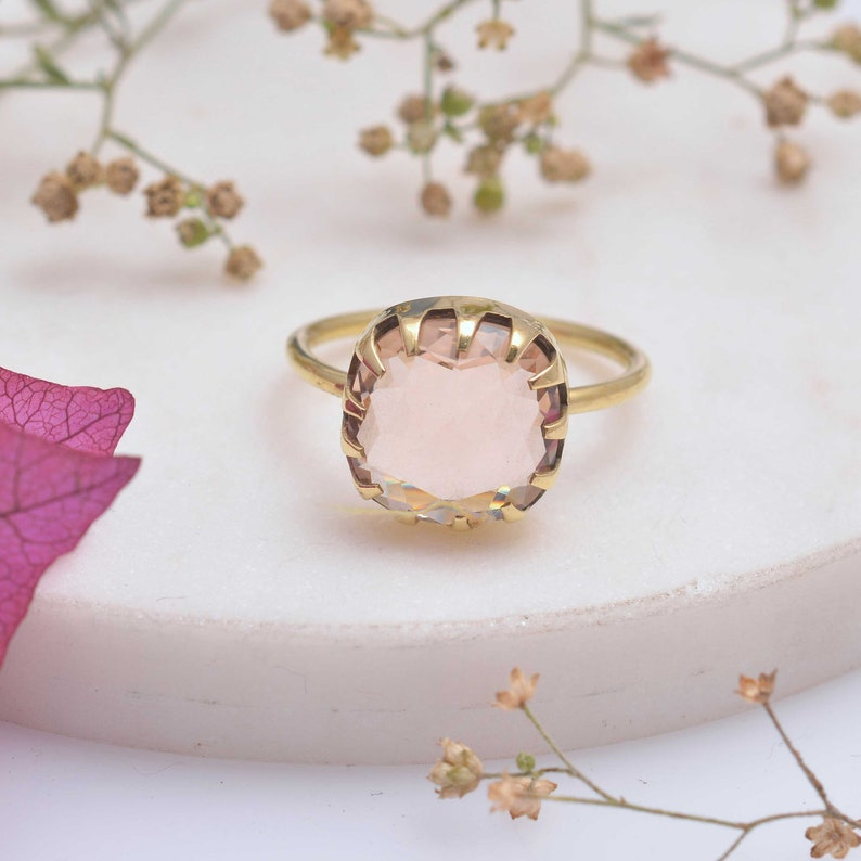 Gift Her gold ring Gemstone Ring Dainty Ring Boho Ring Women Ring Rose Quartz Ring Handmade Ring Stone Ring Statement Ring