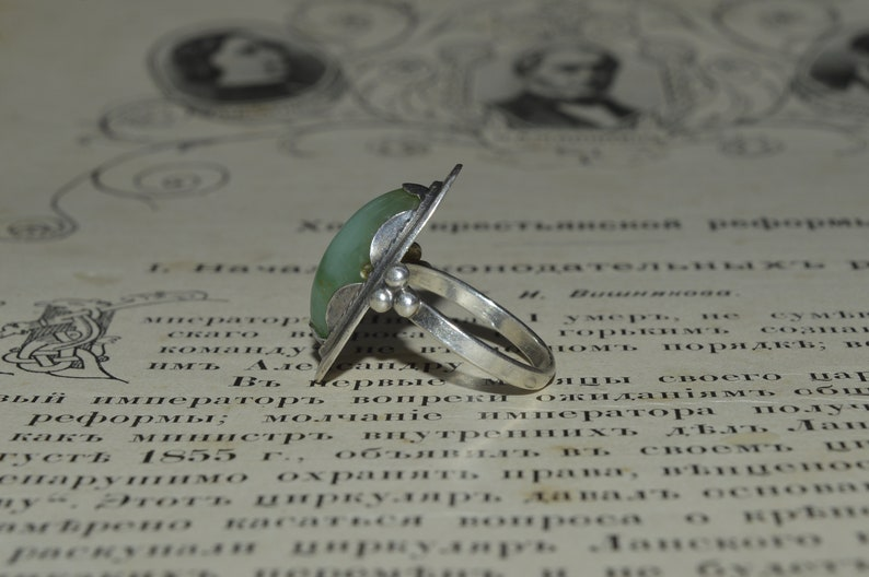 Natural Gemstone Nephrite Sterling ring Russian silver jewelry Russian vintage silver ring old silver 875 vintage silver collectibles