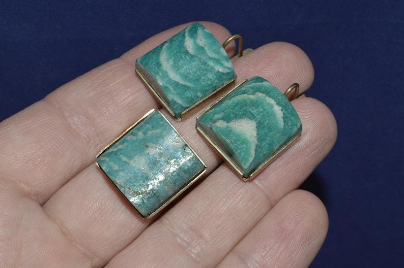 Amazonite earrings Green Amazonite collectibles Jewelry Amazonite Ring Natural stone Amazonite Vintage Amazonite set Stone Amazonite
