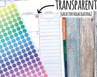 Transparent Highlighting Color Dot Planner Stickers, Writable and Removable, 116T