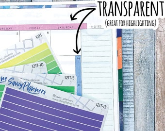 Transparent Highlighting Strip Planner Stickers, Writable and Removable, 121T