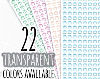 Transparent Birthday Cake Planner Stickers, Writable and Removable, 145T