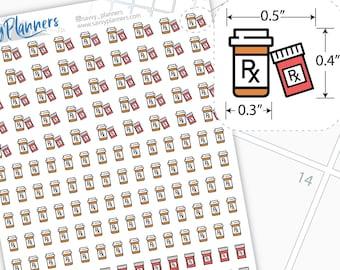 Prescription bottle Planner Stickers, 110H