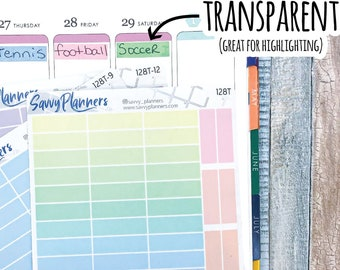 Transparent Rectangle Highlighting Planner Sticker, Writable and Removable, 128T