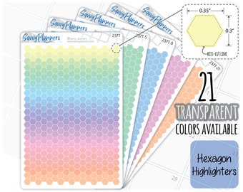 Transparent Small Hexagon Highlighters Planner Stickers, 237T