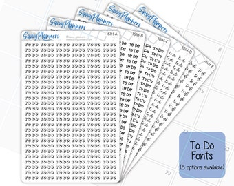 To Do Planner Stickers, 161H (5 Font Selections Available)