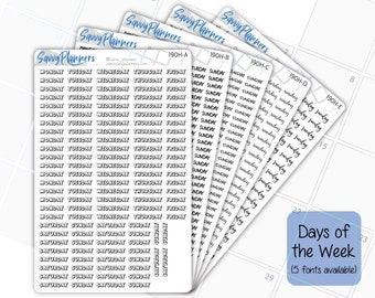 Days of the Week Planner Stickers (5 Font Selections Available), 190H