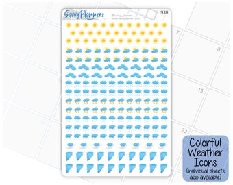 Colorful Weather Icons Planner Stickers, (193H - 202H)