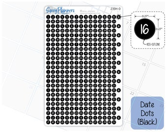 Date Dots Planner Stickers, 239H-0 (Black with White Numbers)