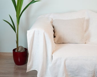 Couch cover natural softened linen, linen bedspread, natural slipcover, bed cover, sofa cover, custom slipcovers