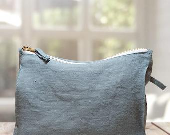 Greyish mint Linen Pochette, cosmetic or makeup bag, toiletry bag